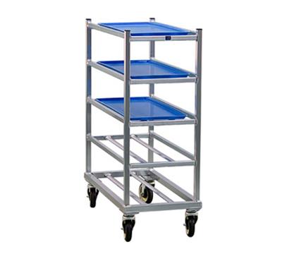 New Age 1354 Mobile Full Height Platter Rack w/ 5-Shelves, End Loading & Open Frame, Aluminum