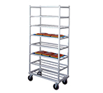 New Age 1355 Mobile Full Height Platter Rack w/ 8-Shelves, End Loading & Open Frame, Aluminum