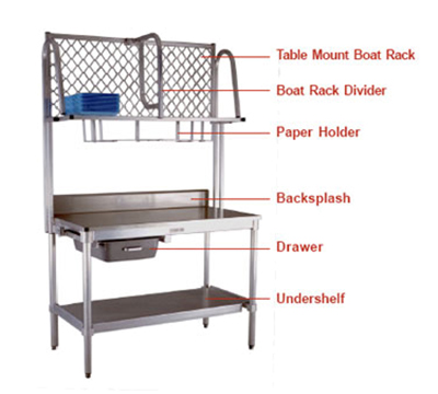 "New Age 1374T Table Mount Boat Rack w/ Mounting Brackets & Hardware, 96x15"", Aluminum"