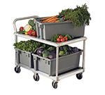 New Age 1410 26x50.5-in Mobile Wet Produce Cart w/ 100-lbs Capacity & Bumper On Top, Aluminum