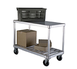 "New Age 1415 19x41"" Open Utility Cart w/ 2-Solid T Bar Shelves & 800-lb Capacity, Aluminum"