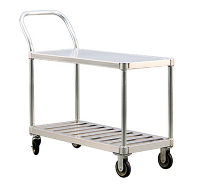 "New Age 1416 19x41"" Open Utility Cart w/ Handle, 2-Solid T Bar Shelves & 800-lb Capacity"