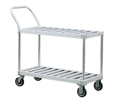 New Age 1420 2-Level Aluminum Utility Cart w/ 1000-lb Capacity, Flat Ledges