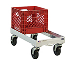 "New Age 1620 Milk Crate Dolly w/ Open Frame & 8-Crate Capacity, 9x13.75x28.25"", Aluminum"