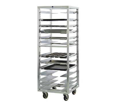 New Age 1650 Mobile Pan Rack w/ 12-Universal Guides & Stepped Angle, End Loading, Aluminum
