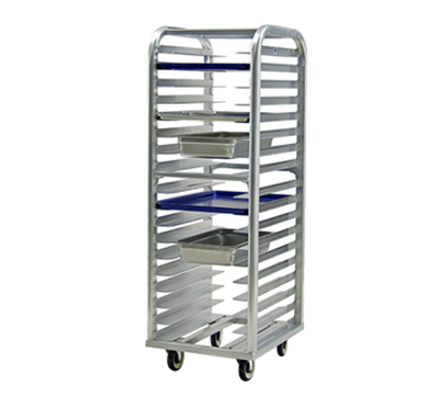 "New Age 4338 Heavy Duty Roll In Bun Pan Rack w/ 11-Pan Capacity & 5"" Casters, Aluminum"