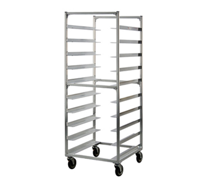 New Age 95048 69-in Mobile Tray Rack w/ (10)23.5x29-in Oval Tray Capacity End Loading Aluminum