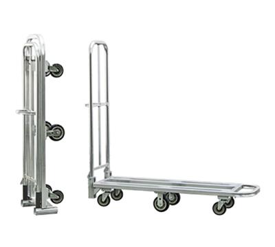 "New Age 95241 Portable Folding Stock L Cart w/ Push Handle & Lock, 63x18x65.75"", Aluminum"