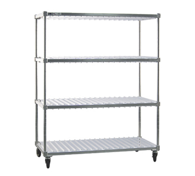 New Age 96087 Mobile Tray Drying Rack w/ 3-Tray Levels & (20)18x26-in Tray Capacity, Aluminum