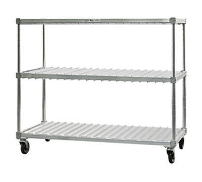 New Age 96090 Mobile Tray Drying Rack w/ 2-Tray Levels & (20)18x26-in Tray Capacity, Aluminum