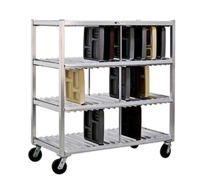New Age 96704 Mobile Tray Drying Rack w/ 3-Tray Levels & 120-Tray Capacity, Aluminum