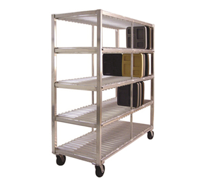 New Age 96707 Mobile Tray Drying Rack w/ 4-Tray Levels & 192-Tray Capacity, Aluminum