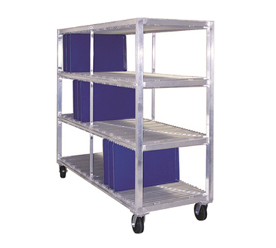 New Age 96711 Mobile Tray Drying Rack w/ 4-Tray Levels & 384-Tray Capacity, Aluminum