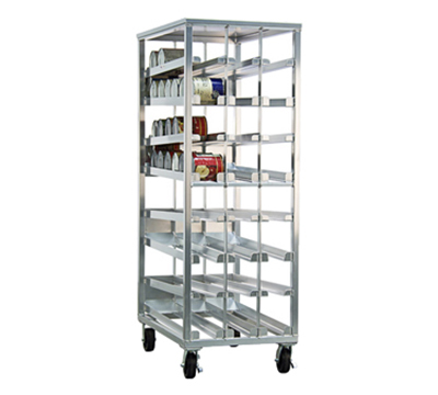 "New Age 97294CK Stationary First In First Out Can Rack w/ Sloped Glides & 6"" Platform Casters"