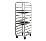 New Age 97743 Mobile Full Height Tray Retrieval Rack w/ Open Sides & End Loading, Aluminum