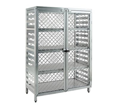 New Age 97846 Stationary Security Cage w/ 4-Interior Shelves Double Doors 72x48x24-in Aluminum