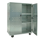 "New Age 98167 Solid Security Cage w/ 3"" Interior Shelves & Double Doors, 72x49x26"", Aluminum"