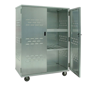 New Age 98167 Solid Security Cage w/ 3-Interior Shelves & Double Doors, 72x49x26-in, Aluminum