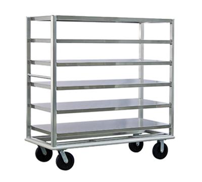 New Age 98183 Queen Mary Banquet Cart w/ 6-Open Shelves & 3000-lb Capacity, Aluminum