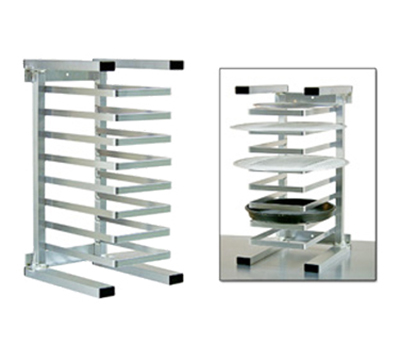 New Age 99970 Universal Table Top Single Wide Pizza Pan Rack w/ 8-Pan Capacity & Front Loading