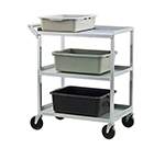 New Age NS745 Open Bussing Cart w/ 3-Solid Shelves, 350-lb Capacity, 18.5x28.75x13-in Aluminum