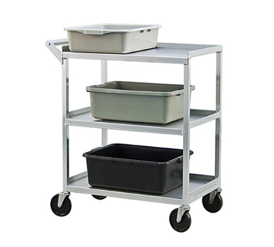 "New Age NS745 32.5""L Polymer Bus Cart w/ (3) Levels, Shelves, Aluminum"