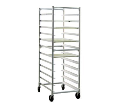 "New Age NS833 Mobile Full Height Tray Rack w/ Open Sides & (24)15x20"" Tray Capacity Aluminum"