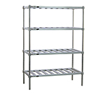 New Age PM2460 4-Tier Mobile Pot Pan Rack w/ 1200-lb Capacity 5-in Casters 74x60x24-in Aluminum