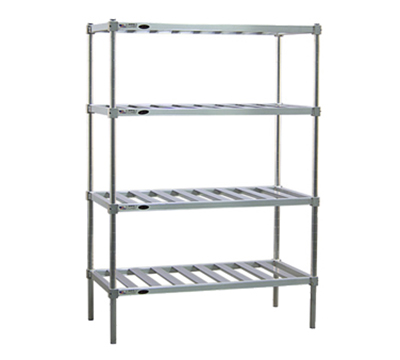 "New Age PM2448 4-Tier Mobile Pot Pan Rack w/ 1200-lb Capacity 5"" Casters 74x48x24"" Aluminum"