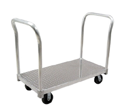 "New Age PT3048P6 30x48"" Platform Truck w/ Tread Plate Deck & 2600-lb Capacity, Removable Handle"