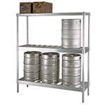 New Age NS475 3-Tier Beer Keg Rack w/ 8-Keg Capacity & T Bar Shelves, 72x18x76""