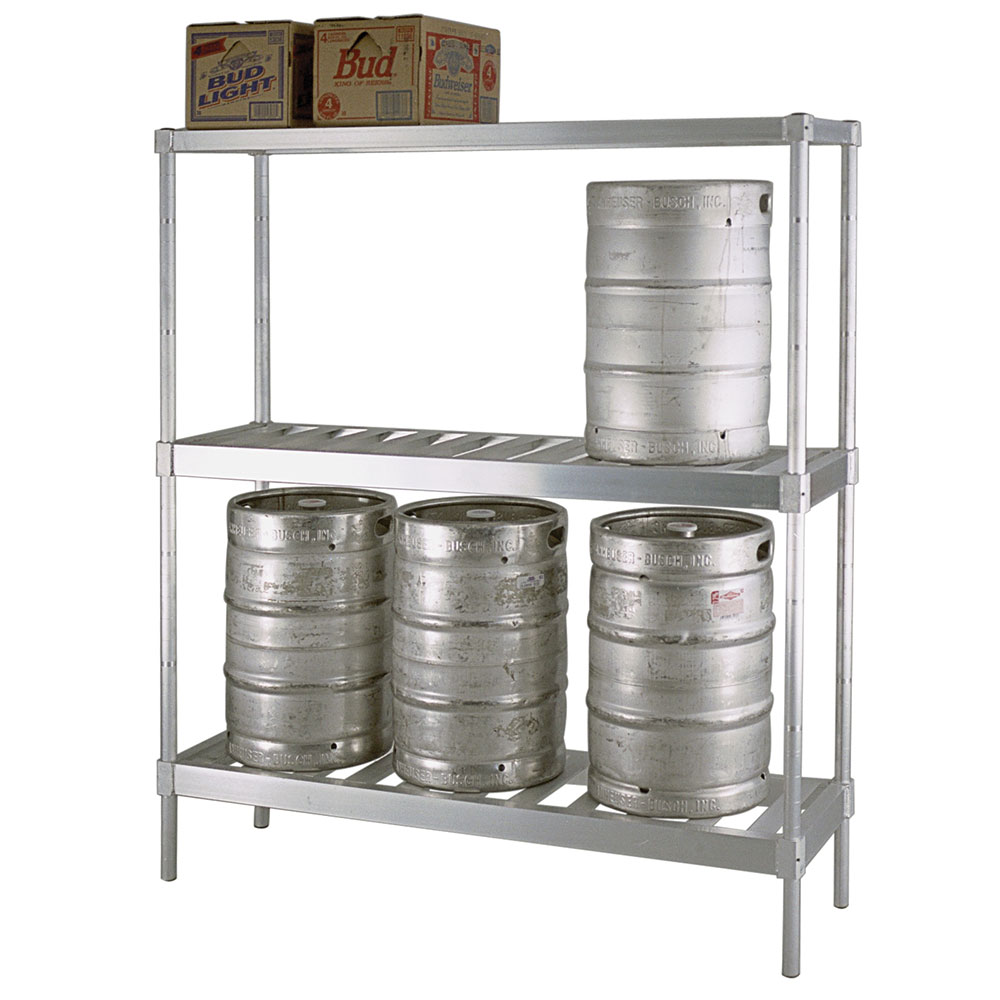 New Age NS475 3-Tier Beer Keg Rack w/ 8-Keg Capacity & T Bar Shelves, 72x18x76-in