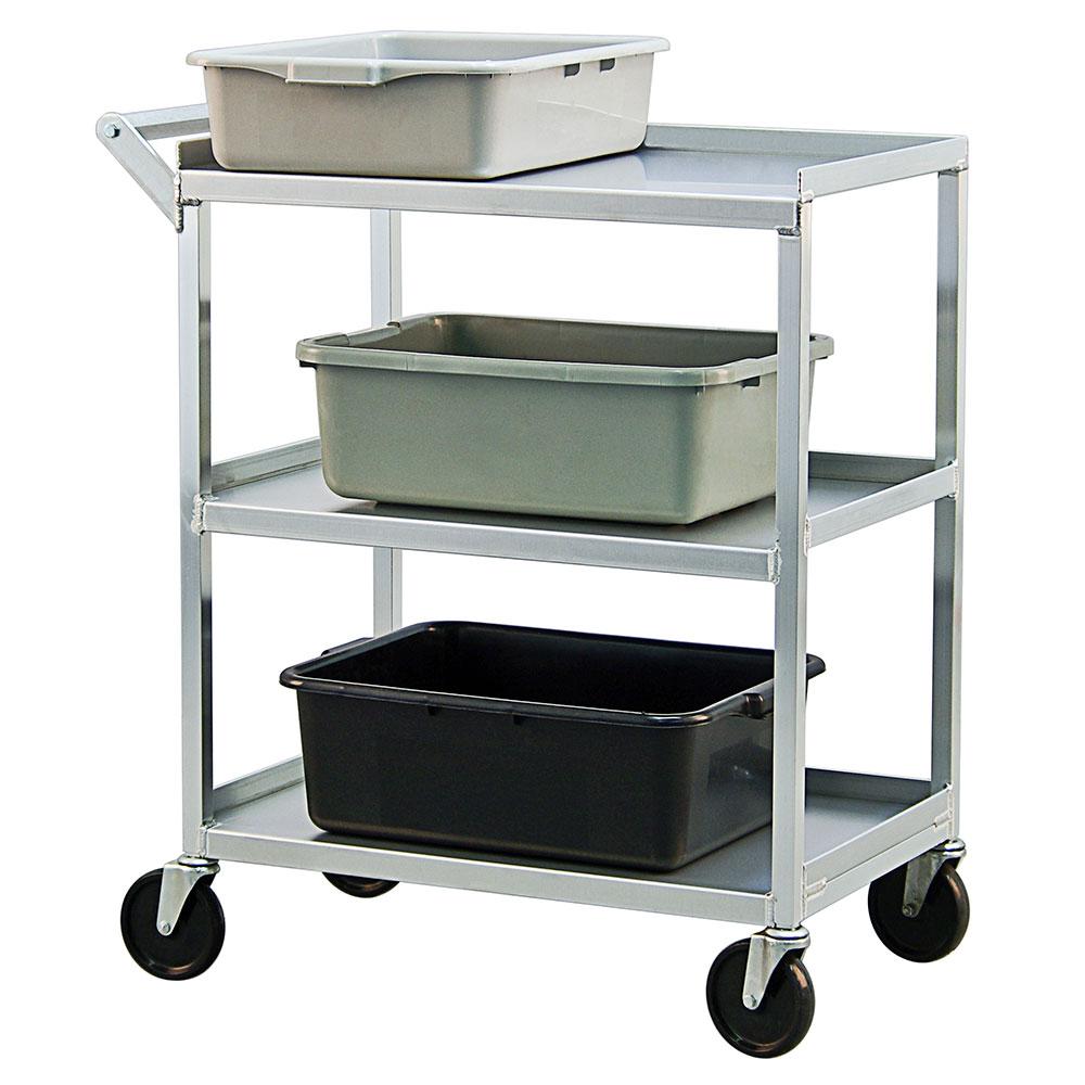 "New Age NS745 32.5""L Polymer Bus Cart w/ (3) Levels, Shelves, Aluminum"