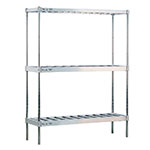 New Age NS933 Beer Keg Rack w/ 6-Keg Capacity & 3-Tier, 76x18x60-in, T Bar Shelves