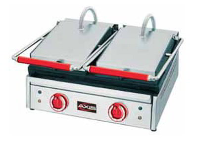 Axis AXPD Panini Toaster, Dual, Grooved Top & Bottom, Temp Range of 122 to 572 F
