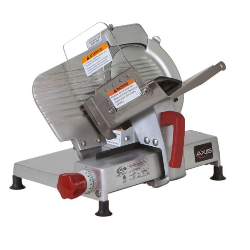 "Axis AX-S9ULTRA 9"" Light Duty Meat Slicer - Belt Driven, Built-In Sharpener, Aluminum, .25-hp, 120v"