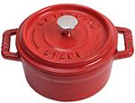 Staub 1101006 Mini Round La Cocotte w/ .25-qt Capacity & Enamel Coated Cast Iron, Cherry
