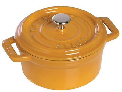 Staub 1101012 Mini Round Cocotte w/ .25-qt Capacity & Enamel Coated Cast Iron, Saffron