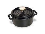 Staub 1101425 Mini Round Cocotte w/ .75-qt Capacity & Enamel Coated Cast Iron, Black Matte