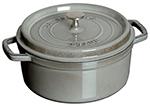 Staub 1102418 Round La Cocotte w/ 4-qt Capacity & Enamel Coated Cast Iron, Graphite Grey