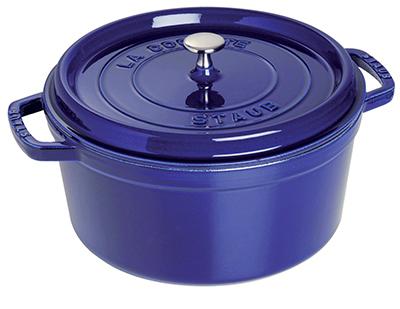 Staub 1102491 Round La Cocotte w/ 4-qt Capacity & Enamel Coated Cast Iron, Dark Blue