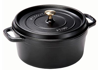 Staub 1102825 Round La Cocotte w/ 7-qt Capacity & Enamel Coated Cast Iron, Black Matte