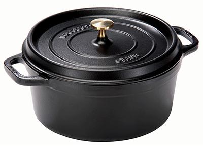 Staub 1103025 Round La Cocotte w/ 9-qt Capacity & Enamel Coated Cast Iron, Black Matte