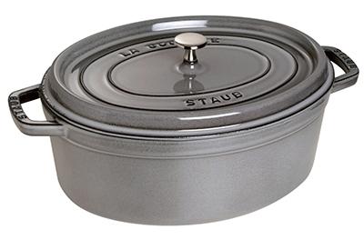 Staub 1103318 Oval La Cocotte w/ 7-qt Capacity & Enamel Coated Cast Iron, Graphite Grey