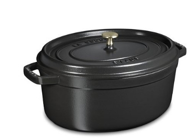 Staub 1103725 Oval Cocotte w. 8.5-qt Capacity & Enamel Coated Cast Iron, Black