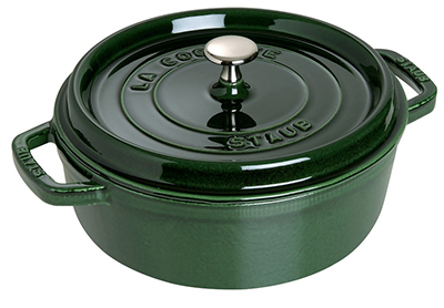 Staub 1112685 Wide Round Shallow Cocotte w/ 4-qt Capacity & Enamel Coated Cast Iron, Basil