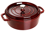 Staub 1112687 Wide Round Shallow Cocotte w/ 4-qt Capacity & Enamel Coated Cast Iron, Grenadine