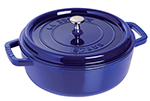 Staub 1112691 Wide Round Shallow Cocotte w/ 4-qt Capacity & Enamel Coated Cast Iron, Dark Blue