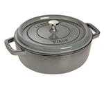 Staub 1112818 Shallow Round Cocotte w/ 6-qt Capacity & Enamel Coated Cast Iron, Graphite Grey