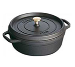 Staub 1112825 Shallow Round Cocotte w/ 6-qt Capacity & Enamel Coated Cast Iron, Black Matte